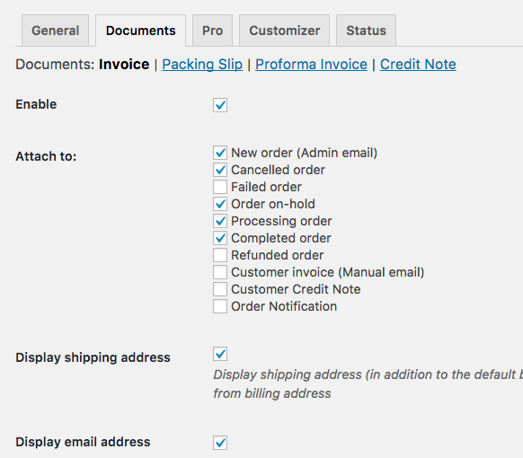 WooCommerce PDF Invoice settings