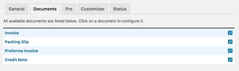 WooCommerce PDF Invoices & Packing Slips Document Settings