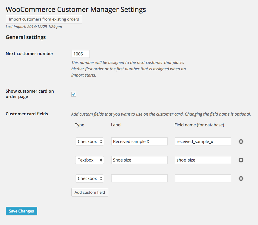 WooCommerce Customer Manager Settings