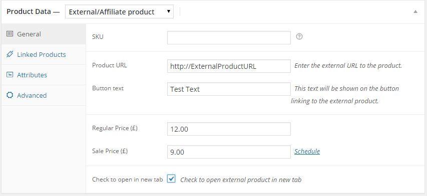 External Product Setting for Opening in new tab