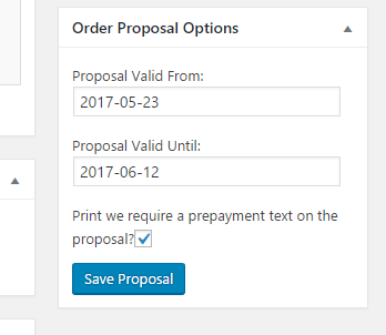 WooCommerce Order Proposal Options